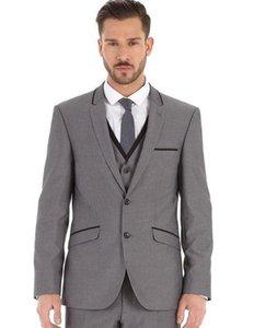 2019 Grey Formal Evening Party Men Suits Notch Lapel Slim Fit Custom Made Wedding Tuxedos Boy Friend Man Suit Three Piece