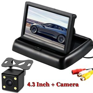 차 감시자 4.3 인치 사진기 거울 주차 원조 Rearview 감시자 NTSC PAL 를 반전하는 Foldable TFT LCD 디스플레이 뒷 전망