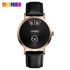 Sencillo hombre reloj de cuarzo relojes de la manera del estilo del negocio del relogio 3Bar impermeable de piel de acero inoxidable masculino 1489