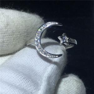choucong Moon Star Promise Ring 5A Циркон камень настоящее стерлингового серебра 925 обручальное обручальное кольцо кольца для женщин партия ювелирных изделий