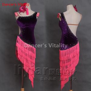 Fait sur mesure Latin Dance Robes manches Design Danse robe de bal Robes compétition pompon latine Jupe