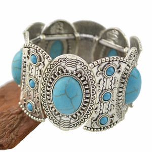 أزياء خمر الفضة نحت زهرة الفيروز جوهرة ستون العرقي بوهو بيان مطاطا سوار