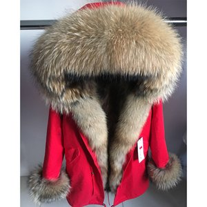maomaokong Real  Fur Coat Winter Jacket Women Long Parka Natural Raccoon Fur Collar Hood Thick Warm Real Liner Parkas