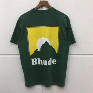 회색 녹색 Rhude T 셔츠 남성 여성 1 : 1 씻어 마 올드 T 셔츠 여름 스타일 패션 높은 품질 Rhude 맨 티 T200219