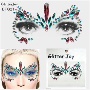 BFG21 Unicorn ispirato Resina faccia gioiello strass Temporary Tattoo Festival Party Body Glitter adesivi