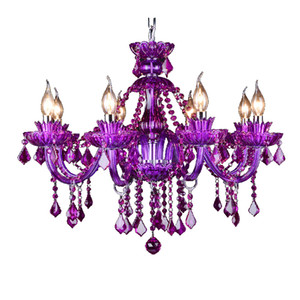 European style purple crystal chandelier European double-layer large crystal lamp bar KT creative personality crystal chandelier