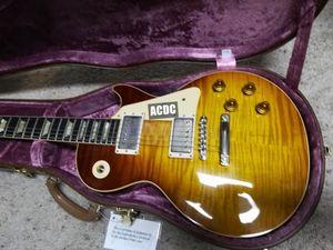 Costumbre 1959 R9 Ice Tea Tigre Sunburst Big Fat Llama la tapa del arce de la guitarra eléctrica de una pieza de cuello (bufanda Sin Conjunta), Amarillo Encuadernación, tulipán sintonizadores