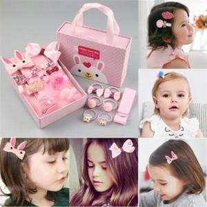 Clip Pudcoco 18Pcs neonata di Bowknot dei capelli accessori per capelli fiore animale Box Hairband Gift Set principessa Hair Pin Bow del fumetto