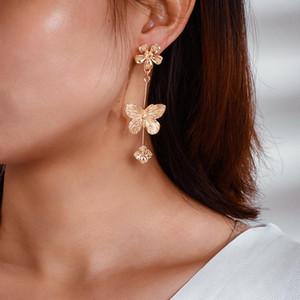 Vintage Womens Earrings Gold Plated Big Small Flower Butterfly Charm Dangle Earrings