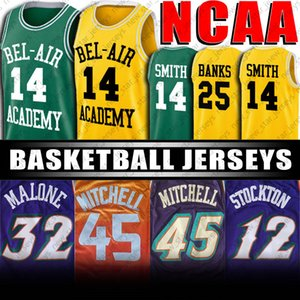 Film Jersey 14 Will Smith Bel-Air Academy Jersey Fresh Prince 25 Carlton Banks Donovan 45 Mitchell Jersey John Stockton Karl Malone Jersey