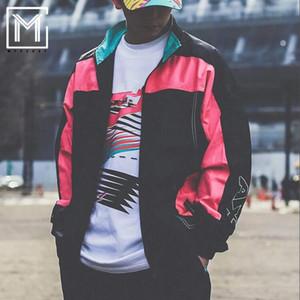 Осень 2019 Мужская Женская Вышивка Спорт Воротник Шинель Zipper Windbreak куртка Верхняя одежда хип-хоп пальто свитер пиджак