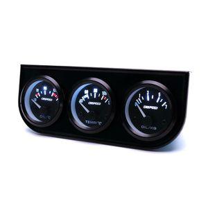 2'' 52mm LED Car 3 Gauge Kit Water Temp Gauge+ Oil Pressure + Volt Voltage Meter