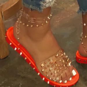 LASPERAL Mulheres Verão sandálias salto Rivet Plataforma Peep Toe Ankle Buckle Moda Punk Praia Senhoras sapatos Zapatos de mujer
