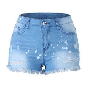 Les femmes à la mode dames Glands Blanchis Skinny Jeans Zipper Hot Pantalons simple trou Shorts Daily Pantalones Cortos de mujer # Y30