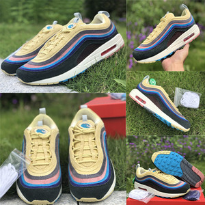 2019 Nike Air Max 97 x Sean Wotherspoon 1/97 SW Top Qualité VF SW hybride Hommes Arc-en-mèche cage en cours d'exécution Chaussures Mode Femmes En Gros Ourdoor Designer Chaussures
