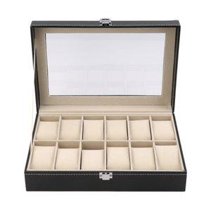 12 Slots Grid PU Leather Watch Display Box Jewelry Storage Organizer Case Locked Watch Display Casket With Black Color