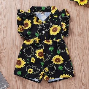 Baby Rompers Girls Boys Jumpsuits 2019 Sunflower Printed Fly Sleeve Short Pants Bodysuit One Piece Newborn Infant Kids Clothing Q335