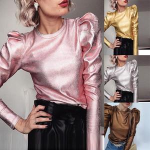 kadınlar 2020 Bahar Ç Boyun Kadınlar Slim Fit Bluz Sonbahar Puff Uzun Kollu Casual Gömlek Yeni Moda Katı Kadın üstleri ve bluzlar bluz