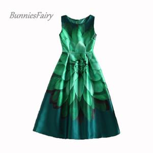 Bunniesfairy donne ispirate alla celebrità elegante vintage retrò fiore stampa floreale gilet abiti senza maniche o-collo vestido de fiesta Y19052803