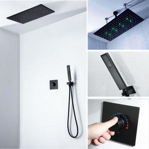 Оптом и в розницу High Flow Душ Набор 590 * 300мм 304SS LED Light Rain Shower Head с 2-полосная Горячий Холодный смеситель Ванна смеситель для душа