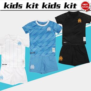 2019 Kids Kit Marseille em casa Meninos de futebol Jersey 19/20 away azul # 9 BALOTELLI # 10 PAYET Criança Terno 3 uniformes de futebol preto jersey + calções