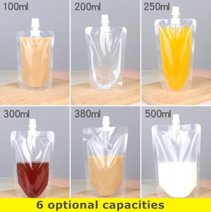100 шт. 12 * 18 СМ 380 мл Пластиковый Напиток Сок Независимый Упаковка Мешок Носик Мешок для напитков, Жидкий Сок, Молоко, получить 1 комплект инструментов БЕСПЛАТНО