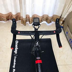 2019 Nouveau ZNIINO noir Plein fibre de carbone Guidon de vélo de route intégré Poignée de vélo Barres cintrées avec potence 400/420 / 440mm