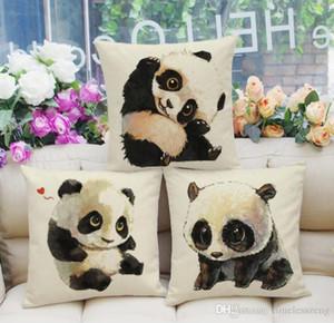 Lovely Baby Panda Kissenbezug aus Baumwolle Leinen Stuhl Sitzbezug 45x45cm pillowcase Haustextilien Büro Sofa liefert