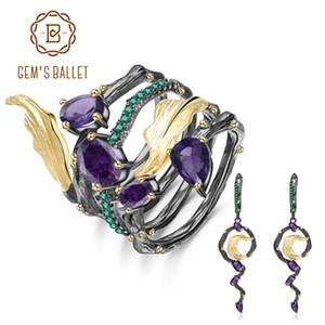 GEM'S BALLET 3.19Ct naturel Amethyst Boucles d'oreilles Bague en argent 925 Vintage gothique Sterling Ensemble de bijoux pour les femmes Fine Jewelry CJ191205