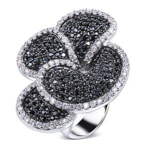 Güzel Çiçek Siyah Ve Yüzük Beyaz Altın Renk Kübik Zirkonya Cz En Son Tasarımlar Yeni Moda Takı Ücretsiz Kargo C19041501