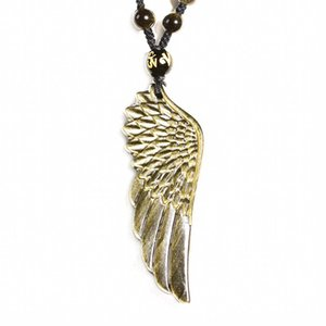 Golden Obsidian Angel Wing Jade Necklace Pendant Hand Carved Angel Wings Lucky Amulet for Men and Women