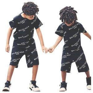 Çocuklar eşofman seti erkek Yaz mektup kısa kollu t shirt + şort 2pcs / set gündelik erkek giyim setleri erkek A9068 giyim uygun