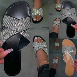 Mujeres Summe zapatos de diamantes de imitación r zapatillas planas punta abierta sandalias de playa romanas chanclas negras antideslizantes Dropshipping. exclusivo.