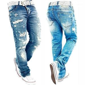 Джинсы мужчины Мужской Жан Homme мужские классические модные брюки джинсовые байкерские брюки Slim Fit мешковатые прямые брюки дизайнер Ripped1
