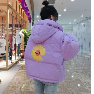 gceoU 2020 down jacket anti-season popular ins style loose short large size small daisy flower wrinkled chrysanthemum bright small down jack