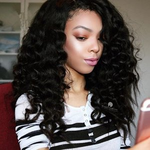 Deep Wave Free Parting Glueless Full Lace Wigs Peruvian Human Hair Lace Front Wig Deep Wave No Shedding With Natural Hairline For Women