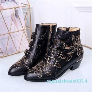 2020 Luxo Susanna couro batido Sapatinho Designer Botas reais Nappa Leahter Mulheres Ankle Boots ouro rebites Martin Botas Bota de Cowboy C14