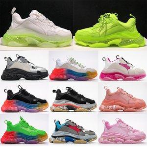 Nueva Moda Italia Triple S zapatos burbuja transparente Suela intermedia Hombres Mujeres Verde Negro Blanco Triple-S zapatillas de deporte casuales de cuero aumento del papá zapatos