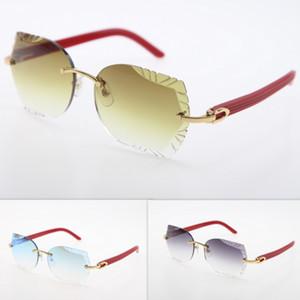 Gafas de sol sin montura ojo de gato gafas de lentes tallado del tablón Trimming lente gafas de sol rojas Nueva vidrios sin rebordes Triángulo lente Gafas de sol caliente