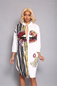 Imprimer Paillettes Robe chemise à manches longues rayé Casual Robe crayon Bouton Street Fashion Dress Women Big Mouth