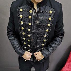 Blazer Hombre mostrano marea Uomini Nightclub Tempo libero auto-coltivazione Giacca Corte Singer Hairstyle Divisione Mans Slim Fit Suit Coat