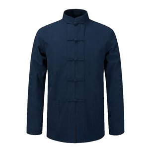 Manches longues en coton chinois traditionnel vêtements Tang costume Top Tai Chi Uniforme Printemps Automne Chemisier manteau pour homme