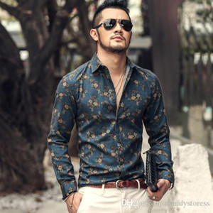 Wholesale- autumn new fashion flower printed long sleeve shirts men camisa male slim flower shirts vintage Linen Casual Men Shirt