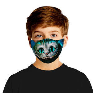 10pcs Face Mask Printing cat Wolf Cotton Party Masks Cosplay Facemasks Reusable Anti Dust fog Warm Windproof Festive Mask + 2pcs filter