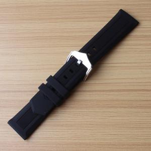 Noir watchbands 12mm 14mm 16mm 18mm 19mm 20mm 21mm 22mm 24mm 26mm 28mm en caoutchouc de silicone montre sangles boucle ardillon en acier bracelet souple