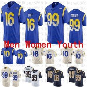 Erkekler kadın LosAngelesgençlik forması 2020 Yeni Rams99 Aaron Donald 16 Jared Goff 10 Cooper Kupp futbol formaları