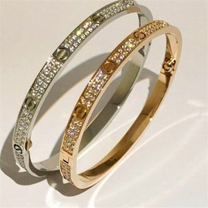 Fashion Stainless Steel Open Cuff Bracelet for Women Female Two Row Zirconia Stone Bangles in  Silver Rose Gold Color