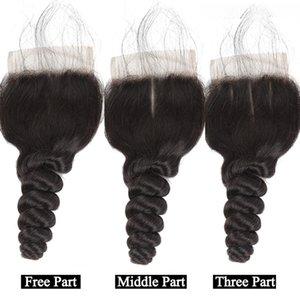 Perulu Olmayan remy insan saç Closures Orta Ücretsiz Üç Parça Gevşek Dalga İpek Bankası Kapatma 4x4 İsviçre Gevşek Dalga Dantel Kapanış