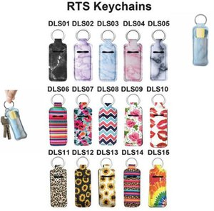 Neoprene Chapstick Holder Lipstick Cases Cover Portable Balm Holders Marble Style Keychain RTS Keyrings Party Gifts OOA8070