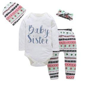 2020 Newborn Infant baby girls clothes 4PCS Baby Sisster printed Romper jumpsuit +pants+ Headband+ Hat Kids girls clothing set